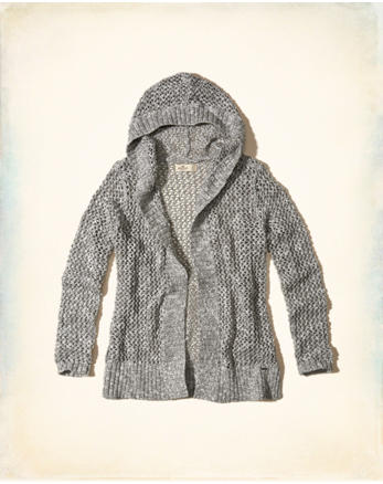hol Open Stitch Hooded Cardigan
