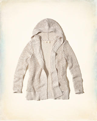 Open Stitch Hooded Cardigan
