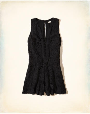 hol Lace-Up Lace Romper