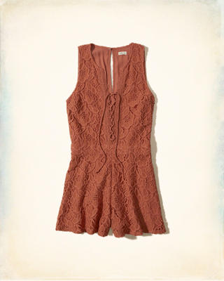 Lace-Up Lace Romper