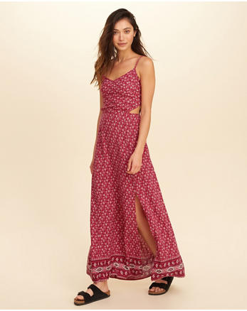hol Cutout Woven Maxi Dress
