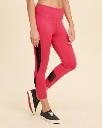 Mesh Panel Crop Active Leggings