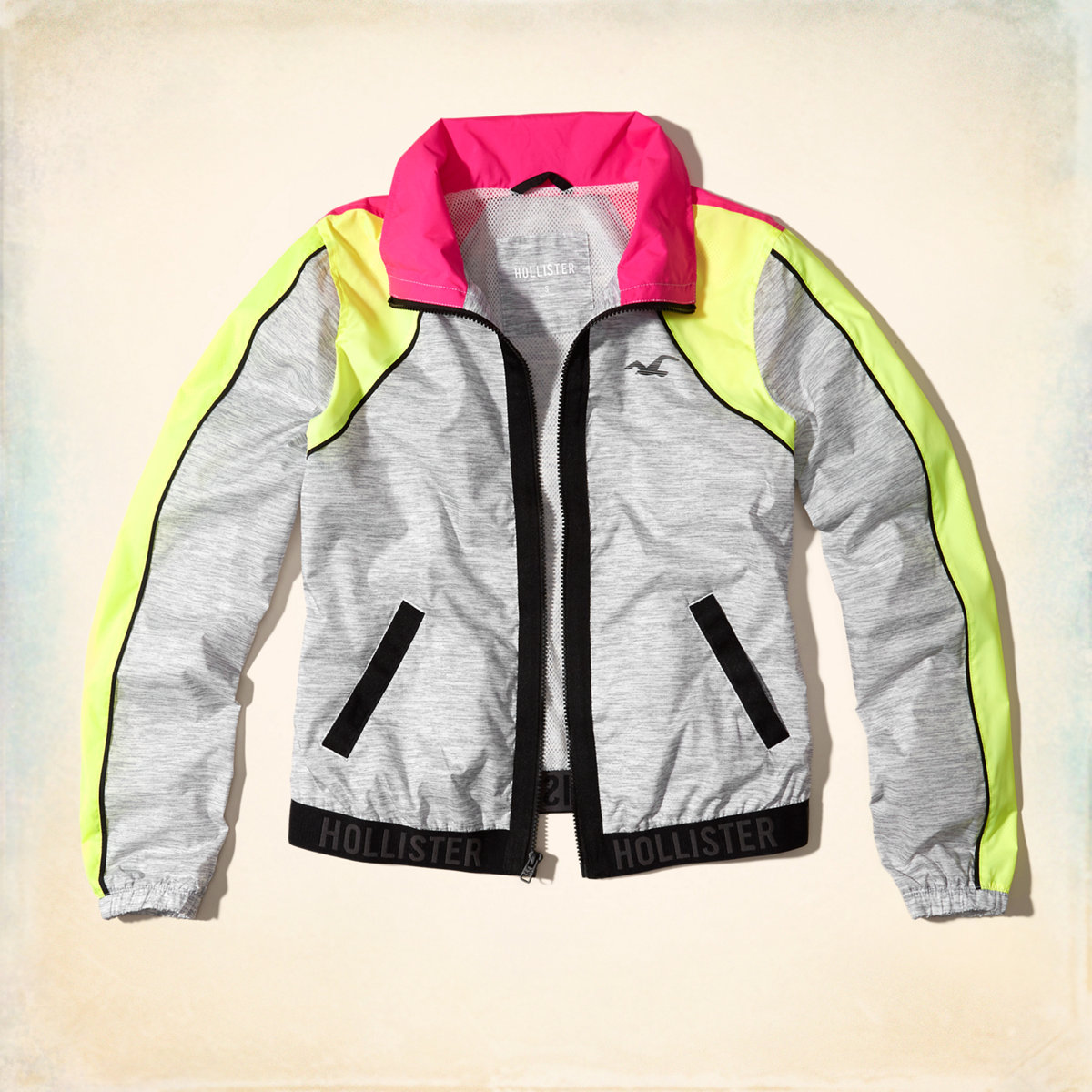 Neon Colorblock Nylon Bomber Jacket