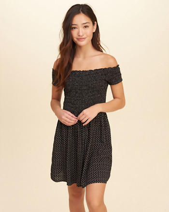 Off-The-Shoulder Smocked Skater Dress