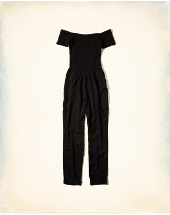hol Smocked Off-The-Shoulder Jumpsuit