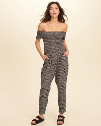 Smocked Off-The-Shoulder Jumpsuit