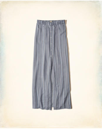 hol Button-Front Woven Maxi Skirt