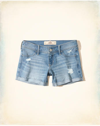 hol Low-Rise Denim Midi Shorts