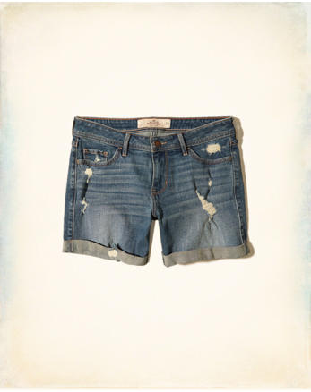 hol Ultra Low-Rise Denim Boyfriend Shorts