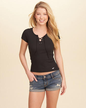 Lace-Up Ribbed Baby T-Shirt