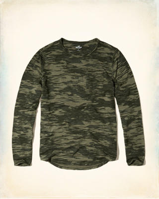 Long-Sleeve Camo Easy Fit T-Shirt