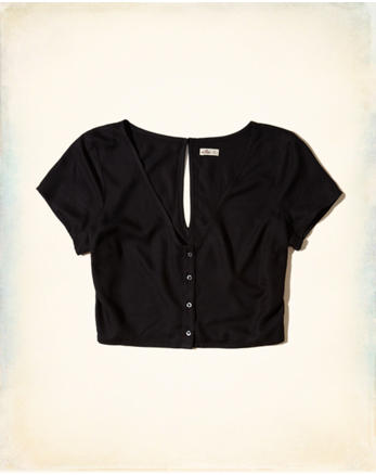 hol Button-Front Crop Top