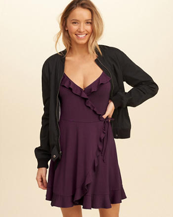 Ruffle Wrap-Front Knit Dress