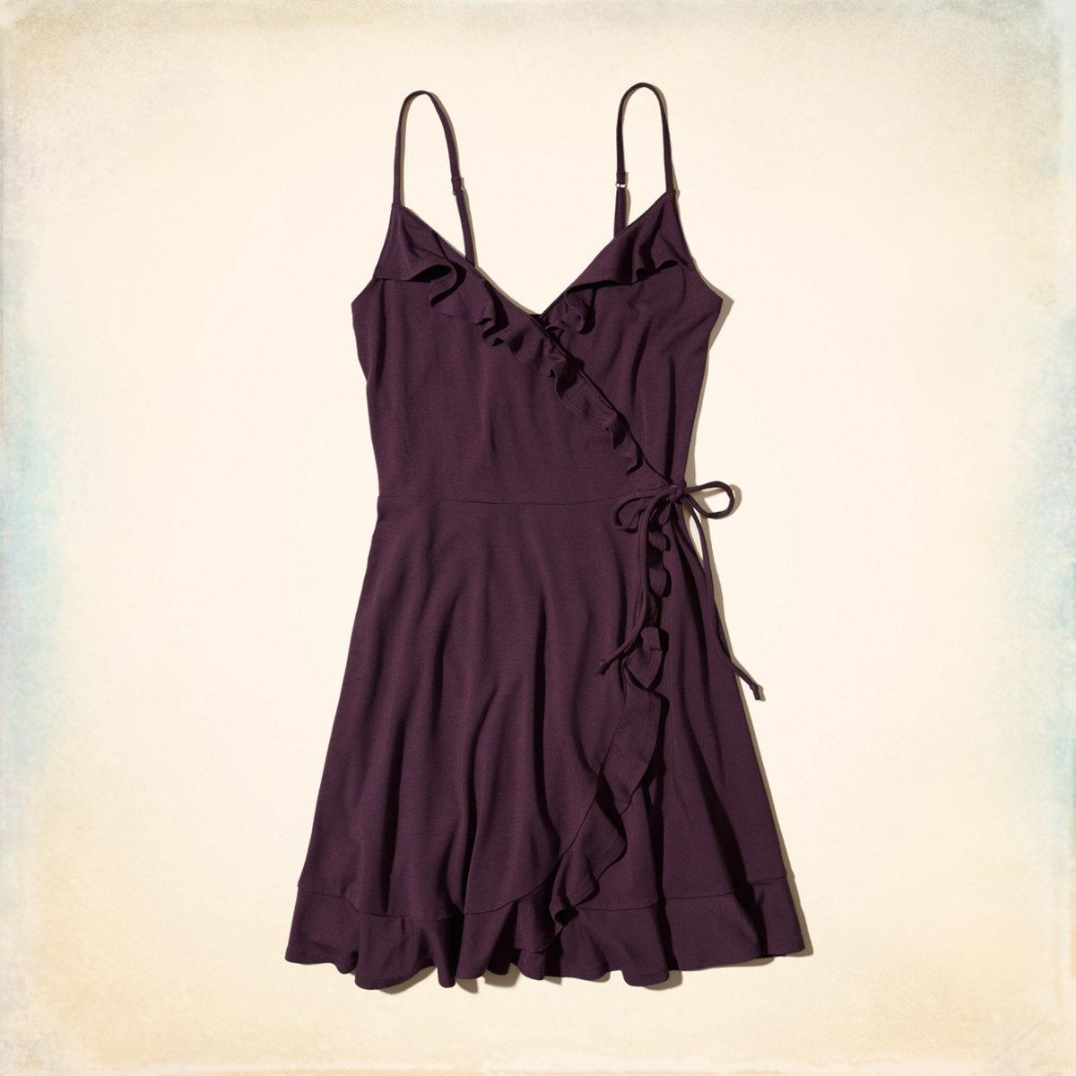 Ruffle Wrap-Front Knit Dress