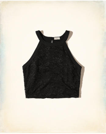 hol High-Neck Lace Crop Top