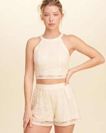 High-Neck Lace Crop Top