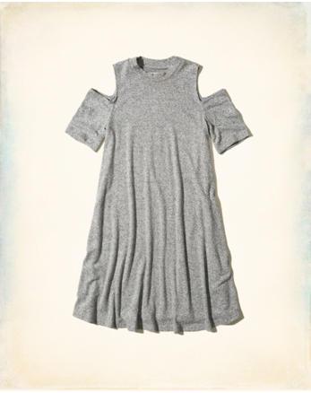 hol Cold Shoulder Swing Dress