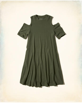 hol Cold Shoulder Swing Dress