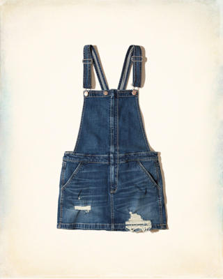 Ripped Denim Skirt Overalls
