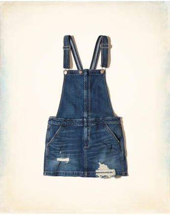 hol Ripped Denim Skirt Overalls