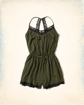 Lace-Trim Satin Romper