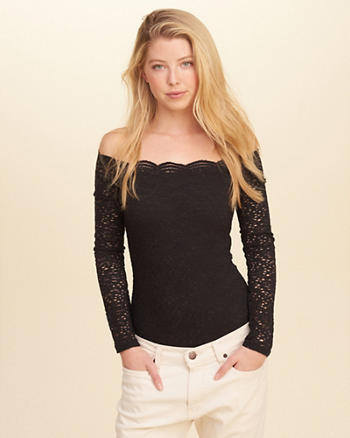 Off-The-Shoulder Lace Bodysuit