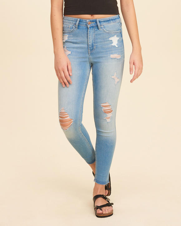 High-Rise Crop Super Skinny Jeans