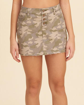 Button Fly Camo Twill Mini Skirt