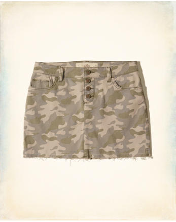 hol Button Fly Camo Twill Mini Skirt