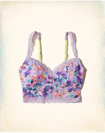 hol Printed Lace Longline Bralette With Removable Pads