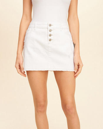Button Fly Low-Rise Denim Mini Skirt