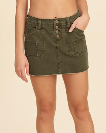 Button Fly Low-Rise Twill Mini Skirt