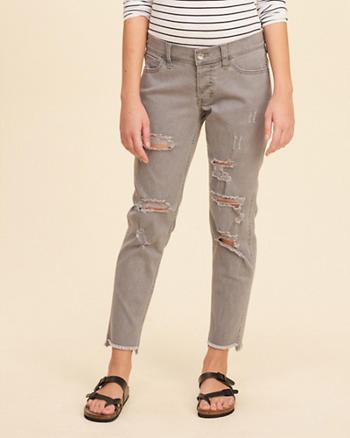 Ultra Low-Rise Slim Boyfriend Jeans