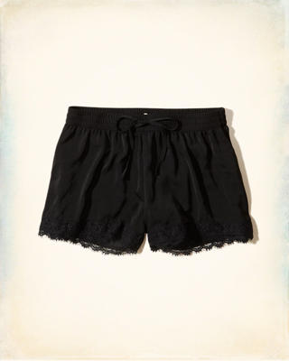 Lace Hem Satin Shorts