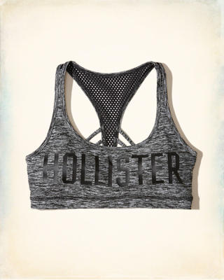 Graphic Strappy Mesh Racerback Sports Bra