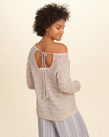 Textured Open Back Sweater