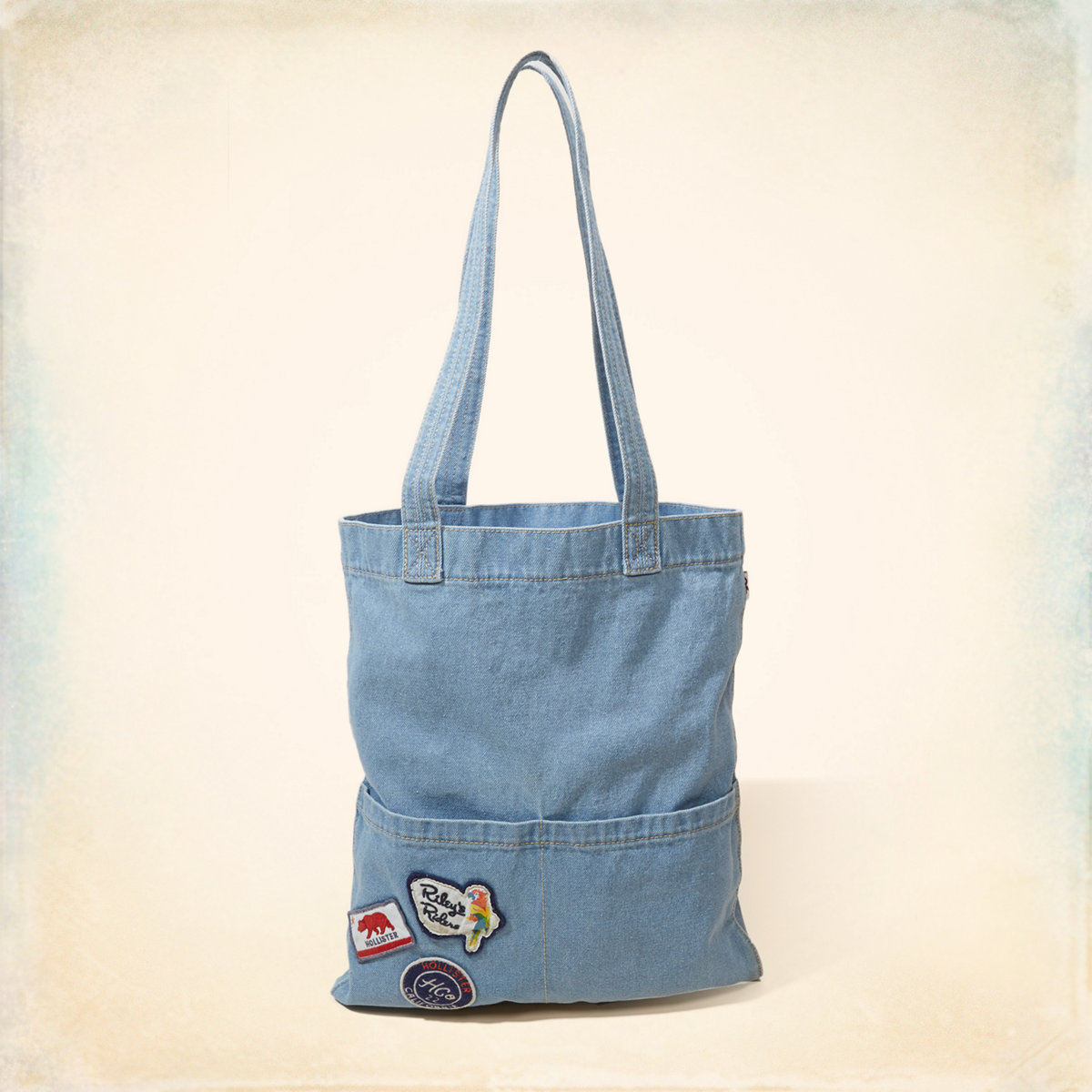 Patch Denim Tote Bag