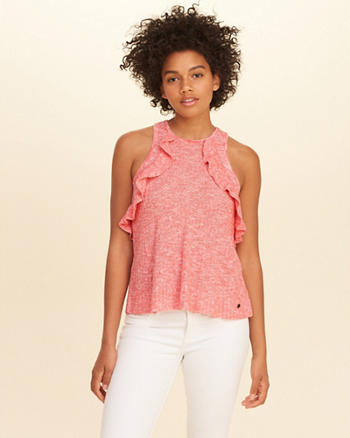 Ruffle High-Neck Sweater Tank