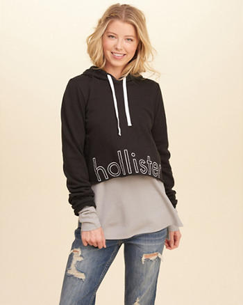 Logo Graphic Cropped Hoodie