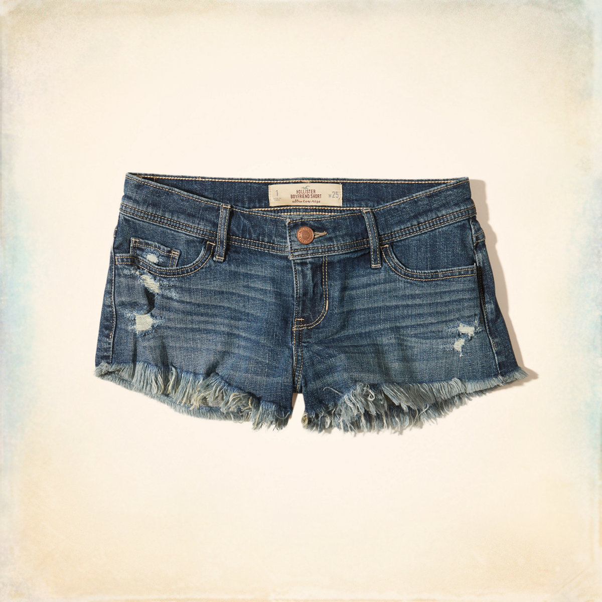 Ultra Low-Rise Denim Boyfriend Shorts