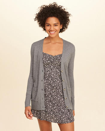 Button-Front Boyfriend Cardigan