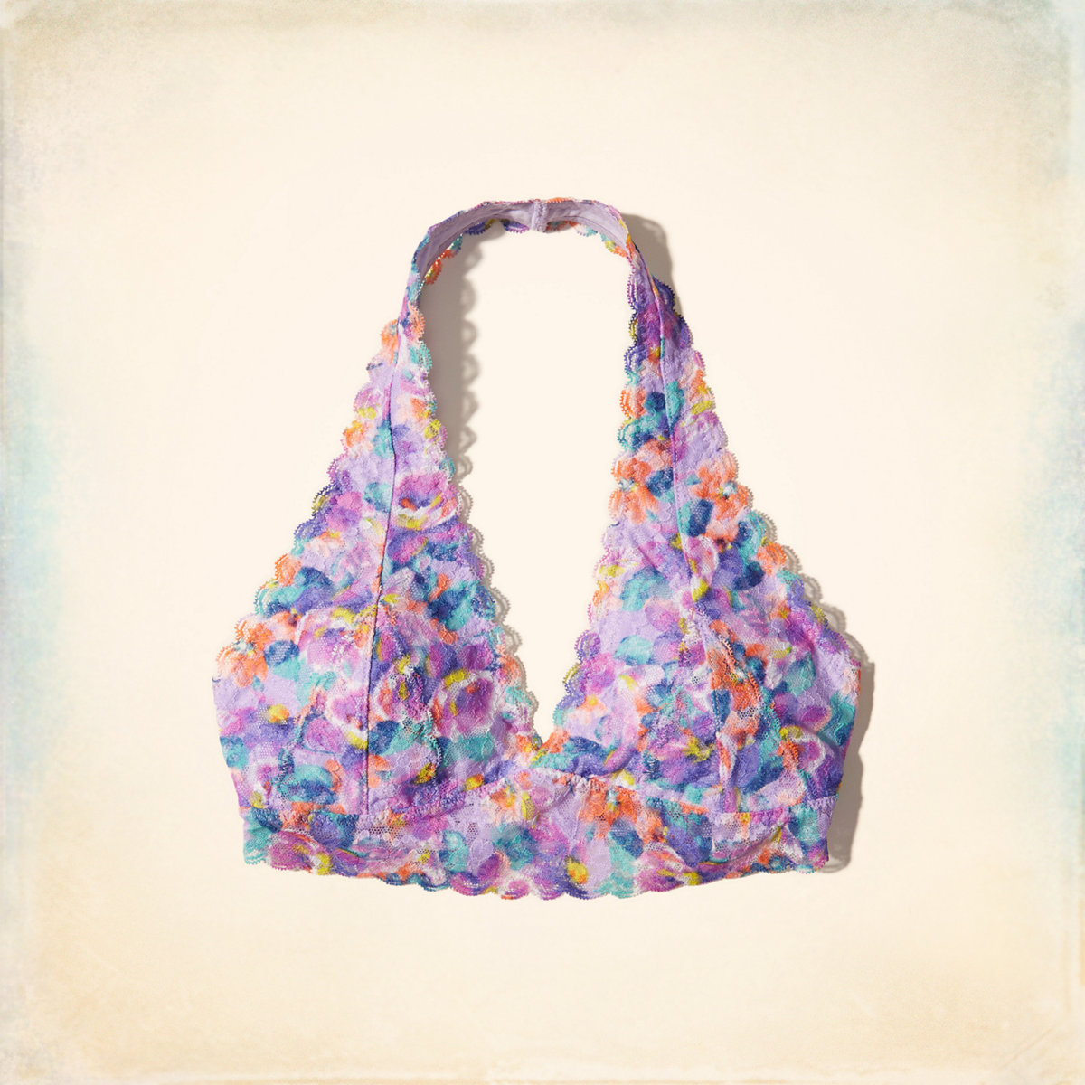 Printed Lace Halter Bralette With Removable Pads