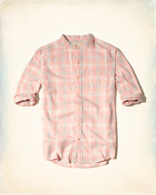 Banded Collar Flannel Shirt