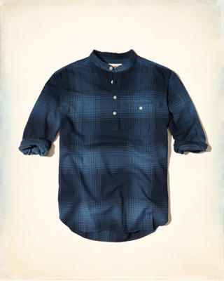 Banded Collar Flannel Popover Shirt