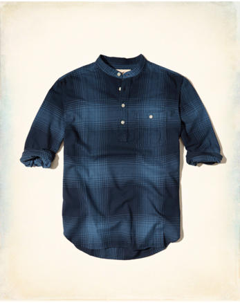 hol Banded Collar Flannel Popover Shirt