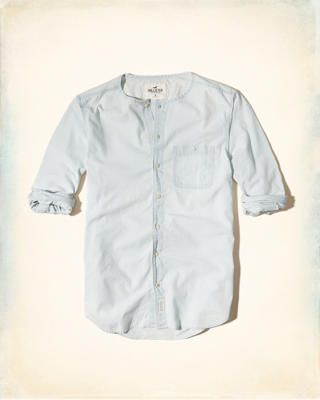 Collarless Chambray Shirt