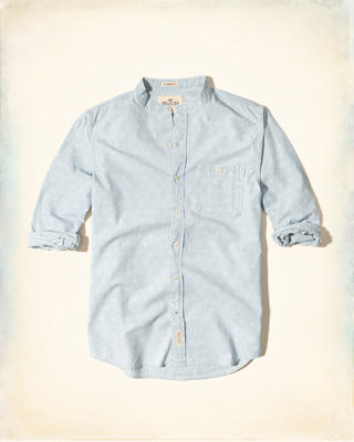 Banded Collar Patterned Chambray Shirt