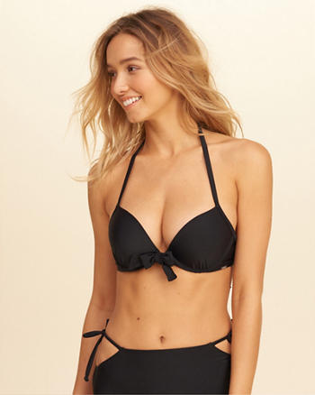 Tie-Front Push-Up Plunge Bikini Top