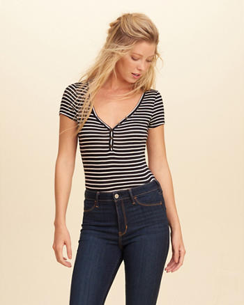 Short-Sleeve Henley Bodysuit