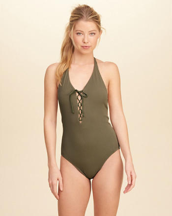 Ribbed Lace-Up Halter One-Piece Swimsuit
